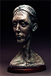 George's Head, a 2002 bronze sculpture by James Peniston. Artist's collection, Philadelphia, Pennsylvania.